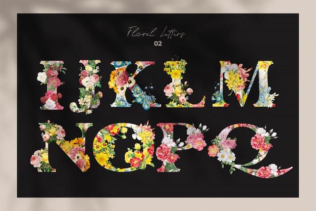 Conjunto de letras de flores