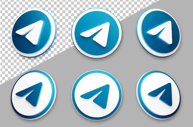 Conjunto de logotipo de mídia social de telegrama de estilo 3d