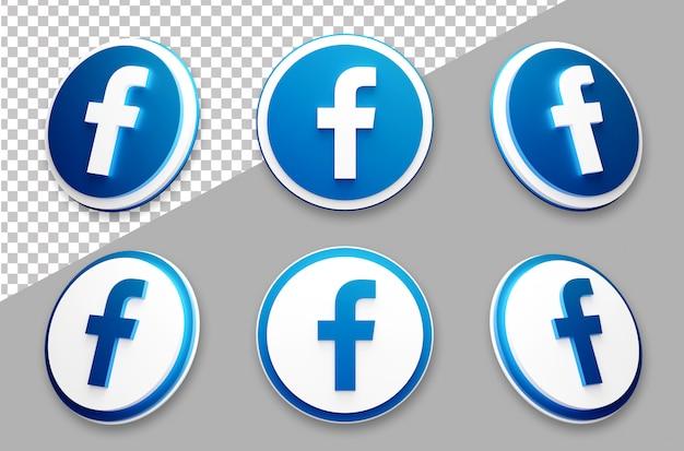 Conjunto de logotipo de mídia social do facebook estilo 3d