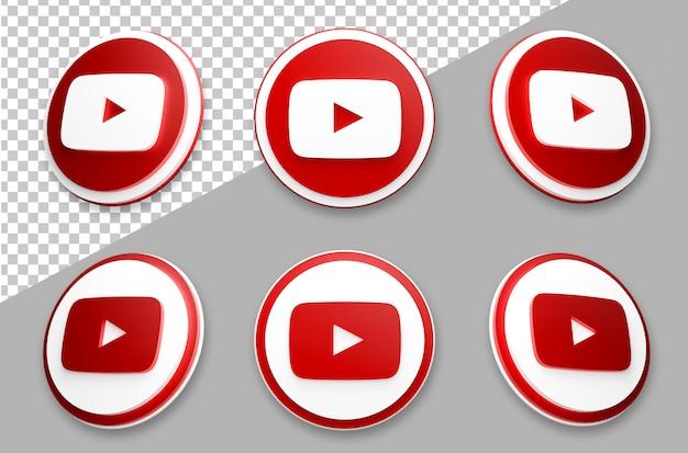 Conjunto de logotipo de mídia social do youtube estilo 3d