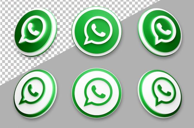 Conjunto de logotipo de mídia social whatsapp estilo 3d