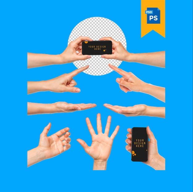 Conjunto de mãos segurando o celular de maquete com tela em branco