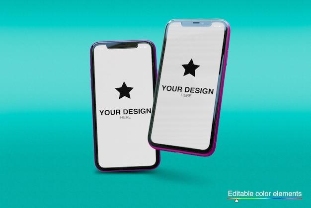 Conjunto de maquete de 2 smartphones