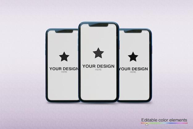 Conjunto de maquete de 3 smartphones