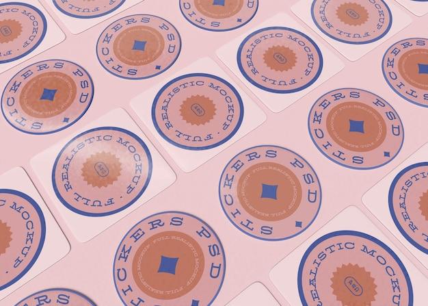 Conjunto de maquete de adesivos redondos