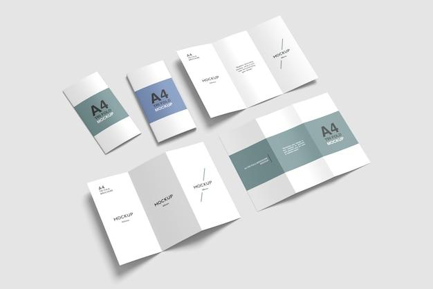 Conjunto de maquete de brochura com três dobras a4