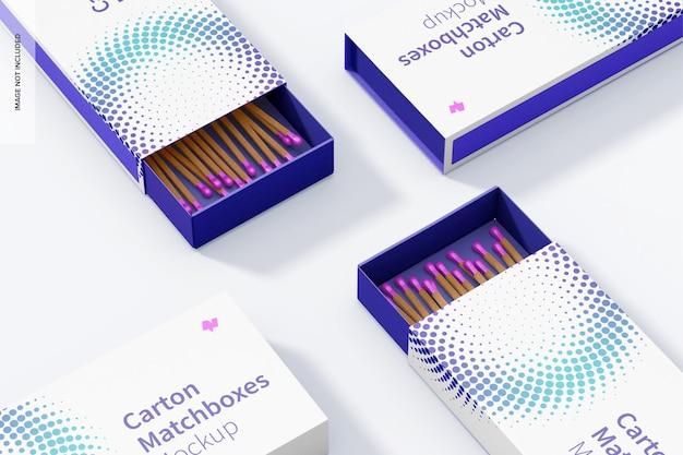 Conjunto de maquete de caixas de fósforos de papelão, vista superior