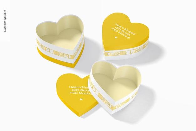 Conjunto de maquete de caixas de presente em forma de coração