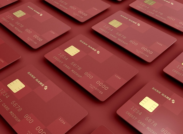 Conjunto de maquete de cartões de crédito