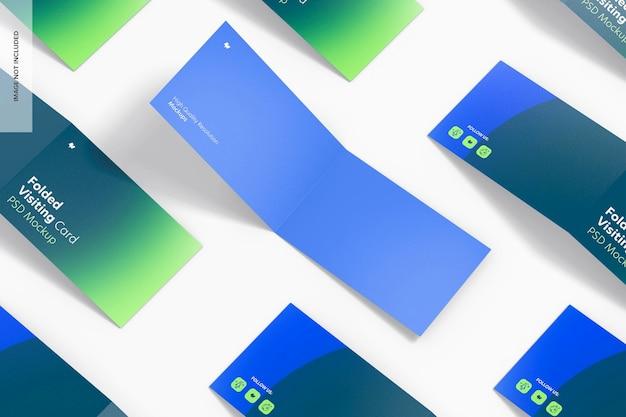 Conjunto de maquete de cartões de visita dobrados