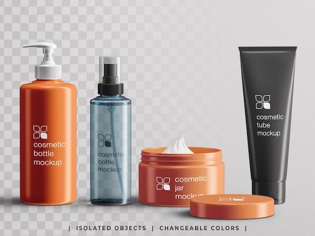 Conjunto de maquete de criador de cena de embalagem de garrafa de produto cosmético de branding de beleza isolado
