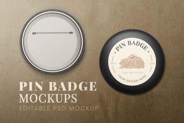 Conjunto de maquete de distintivo de pin psd, frente e verso
