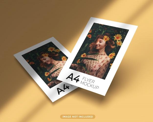 Conjunto de maquete de folheto formato a4 flutuando com sombra