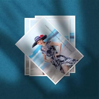 Conjunto de maquete de foto de moldura de papel vertical com sobreposição de sombra