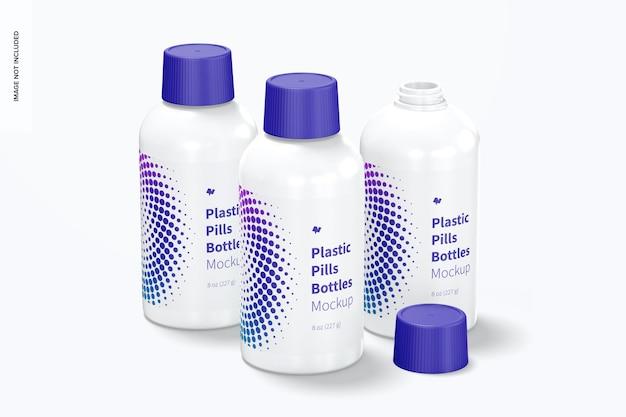 Conjunto de maquete de frascos de pílulas de plástico