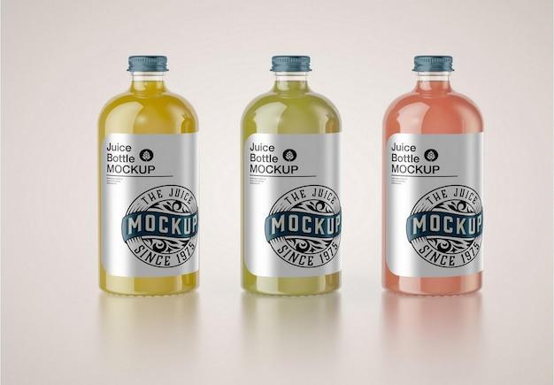 Conjunto de maquete de garrafa de vidro de 3 sucos