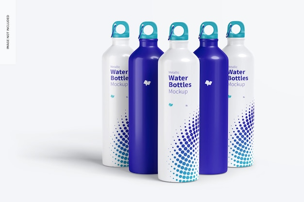 Conjunto de maquete de garrafas de água metálicas