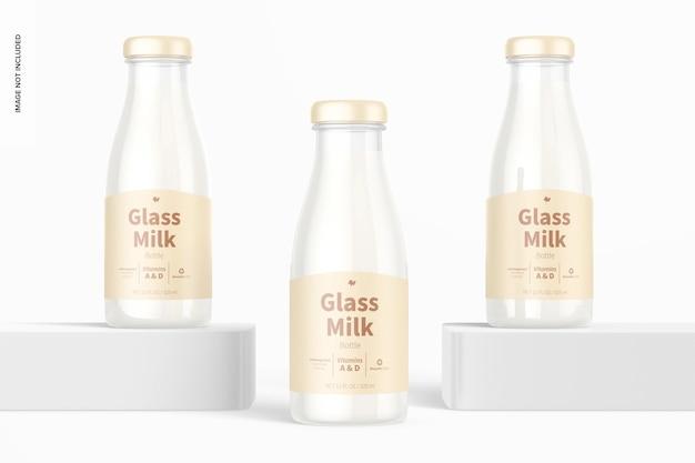Conjunto de maquete de garrafas de leite de vidro