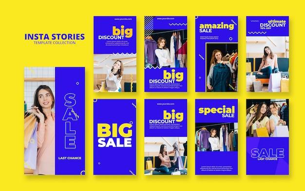 Conjunto de maquete de histórias de insta