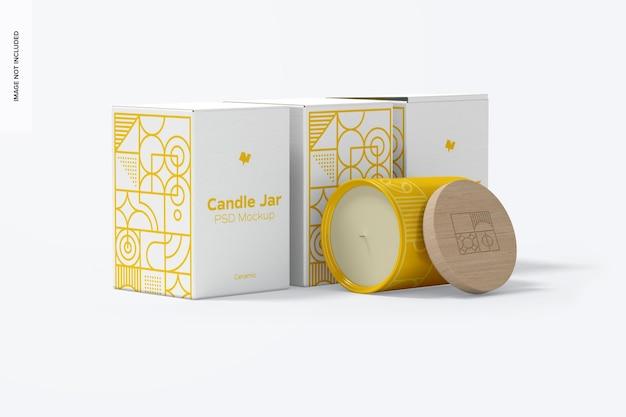 Conjunto de maquete de jarra de vela de cerâmica com caixas, vista lateral