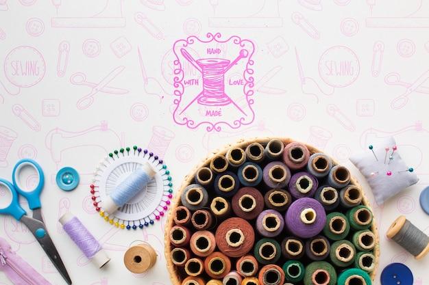 Conjunto de maquete de linhas de costura