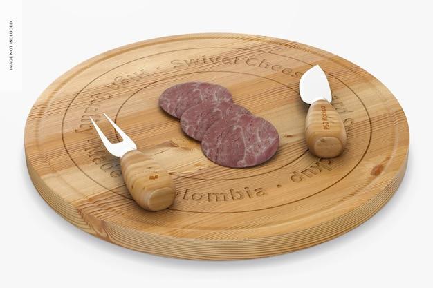 Conjunto de maquete de mesa giratória para queijo, perspectiva