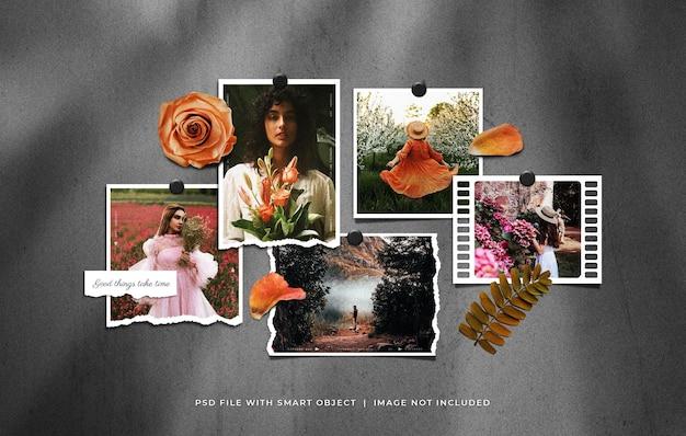 Conjunto de maquete de moldura de foto fixada com flor rosa e folha seca