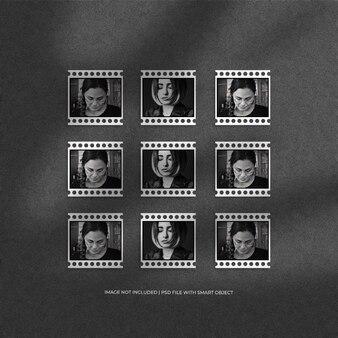Conjunto de maquete de moldura de papel de filme de retrato