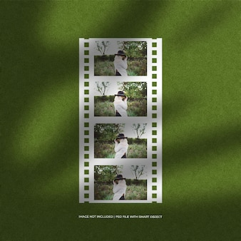 Conjunto de maquete de moldura de papel de filme e plano de fundo