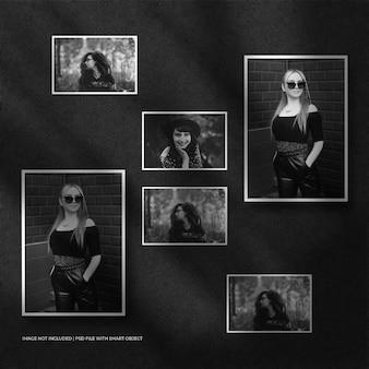 Conjunto de maquete de moldura de papel de retrato e fundo escuro