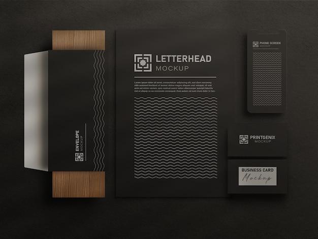 Conjunto de maquete de papelaria de escritório moderno com madeira