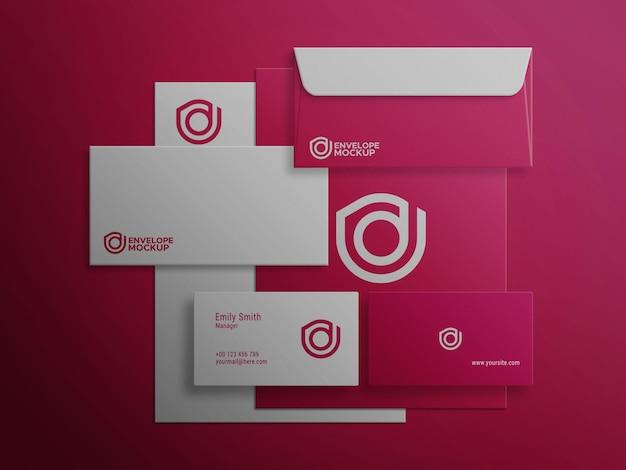 Conjunto de maquete de papelaria vermelho psd premium