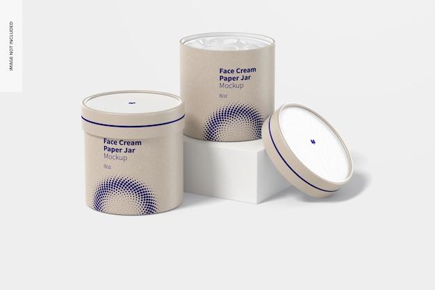 Conjunto de maquete de potes de papel de creme facial de 8 oz