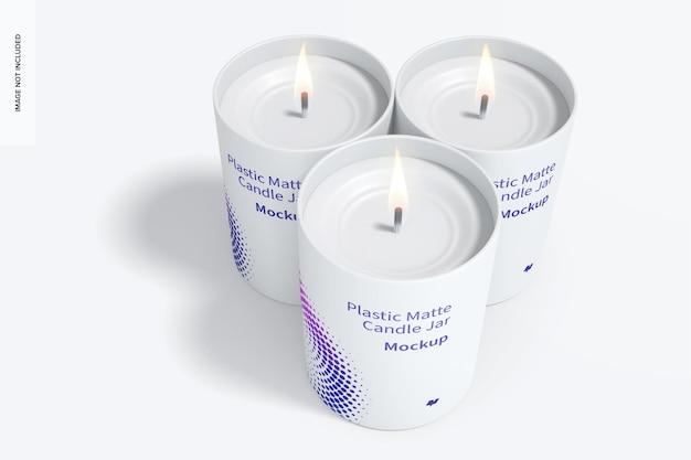 Conjunto de maquete de potes de velas de plástico fosco