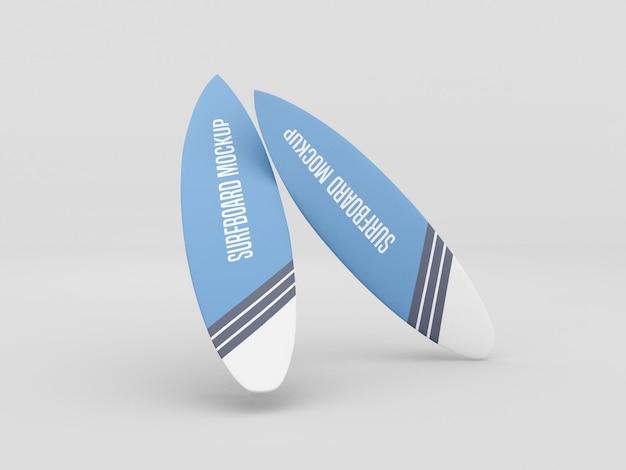 Conjunto de maquete de prancha de surf em fundo branco