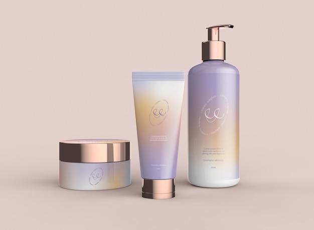 Conjunto de maquete de produtos cosméticos