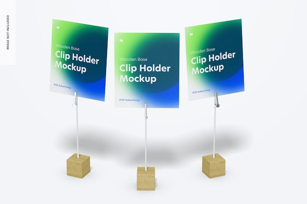 Conjunto de maquete de suportes para clipes de fotos com base de madeira