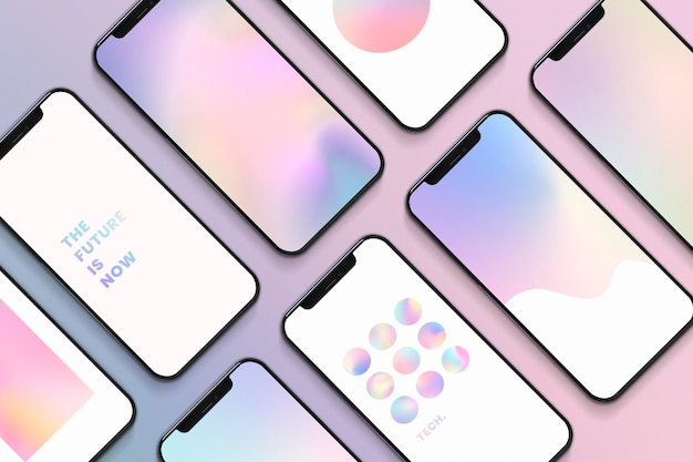 Conjunto de maquete de telas de smartphone