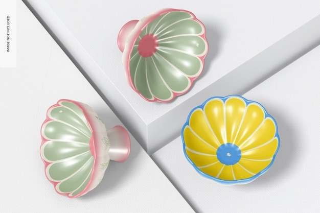 Conjunto de maquete de tigelas com pés de cerâmica