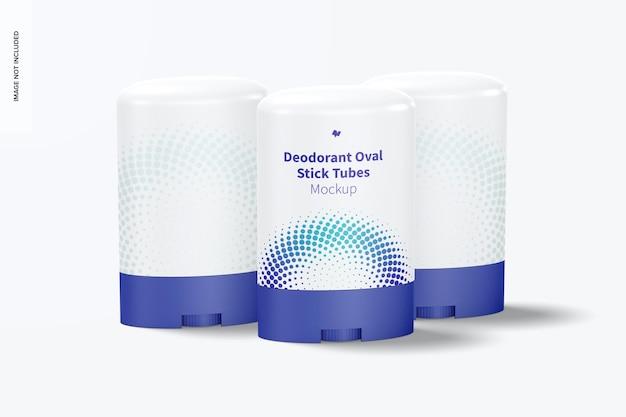 Conjunto de maquete de tubos desodorantes ovais em bastão