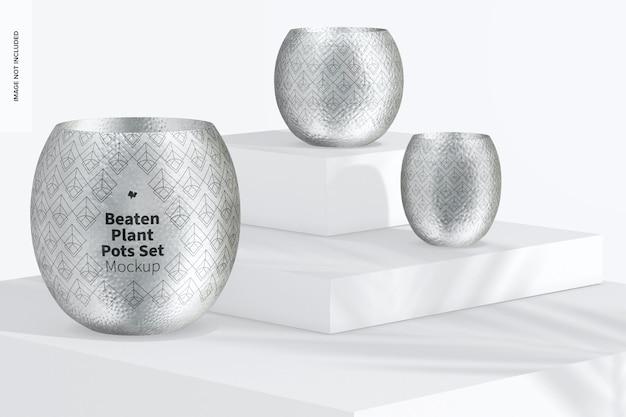 Conjunto de maquete de vasos de plantas batidas, em pódios