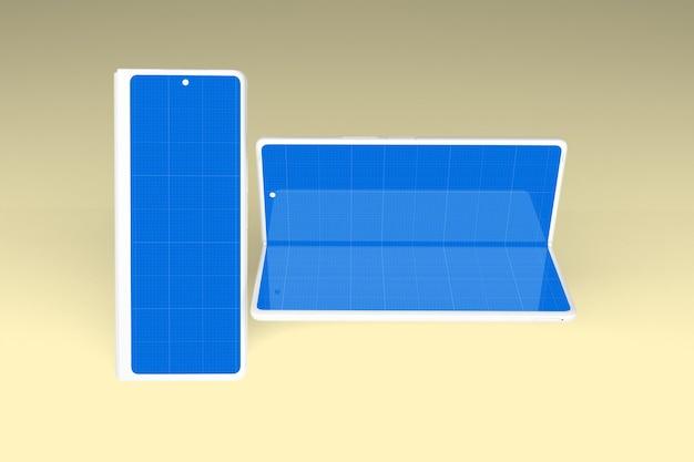 Conjunto de maquete para celular dobrado