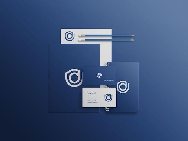 Conjunto de maquete psd de mini papelaria azul
