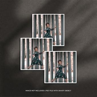 Conjunto de maquete quadrada de moldura de papel com sombra