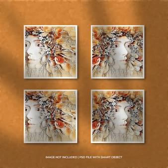 Conjunto de maquete quadrada de moldura de papel e sobreposição de sombra