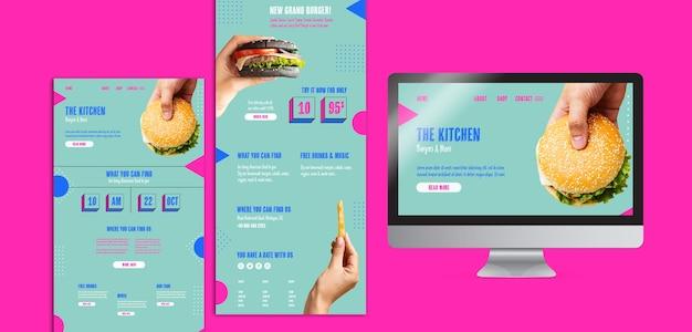 Conjunto de menu de cozinha com comida americana