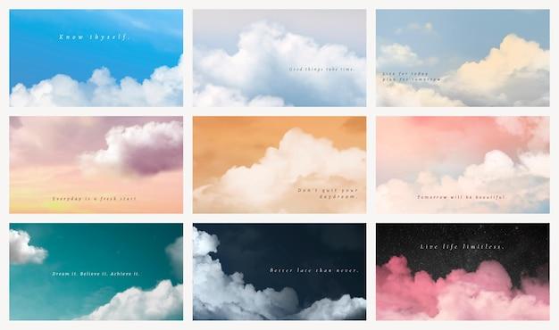 Conjunto de modelo de apresentação de céu e nuvens psd com citação de motivação