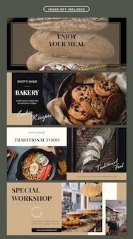 Conjunto de modelo de banner de comida