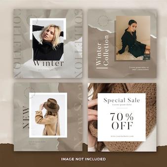 Conjunto de modelo de banner quadrado de moda com efeito de papel rasgado