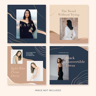 Conjunto de modelo de banner quadrado de moda